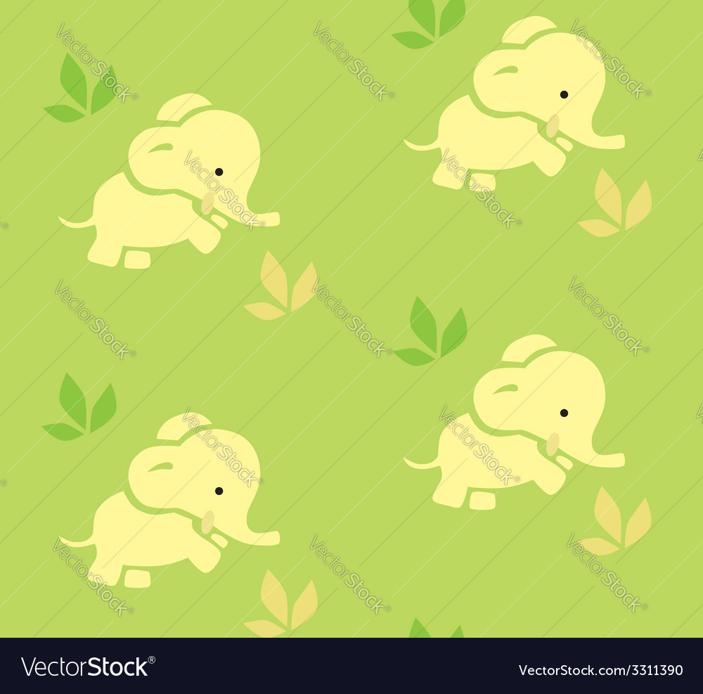 Seamless pattern with funny elephants vector | Price: 1 Credit (USD $1)