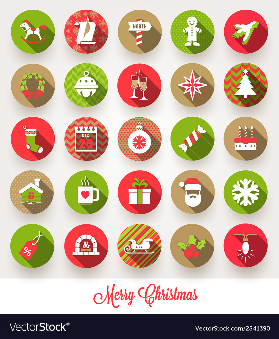 Set of christmas flat icons with long shadows vector | Price: 1 Credit (USD $1)