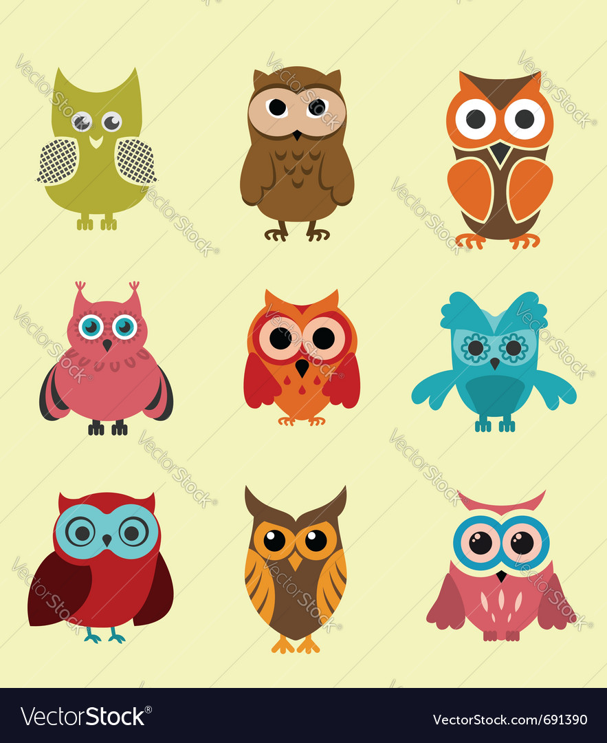Set of doodle owls vector | Price: 1 Credit (USD $1)