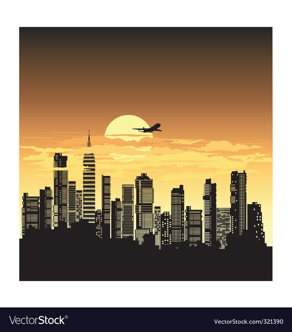 Sunset city vector | Price: 3 Credit (USD $3)