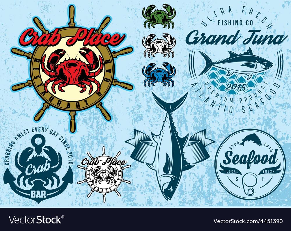 Templates with crab and tuna for design packing vector | Price: 1 Credit (USD $1)