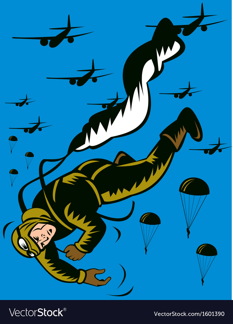 World war two soldier parachuting pulling cord vector | Price: 1 Credit (USD $1)