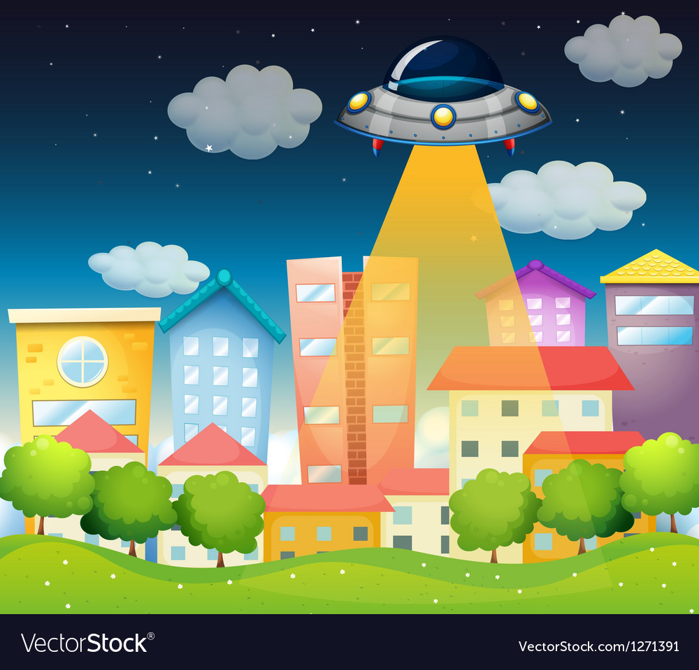A spaceship above the buildings vector | Price: 1 Credit (USD $1)