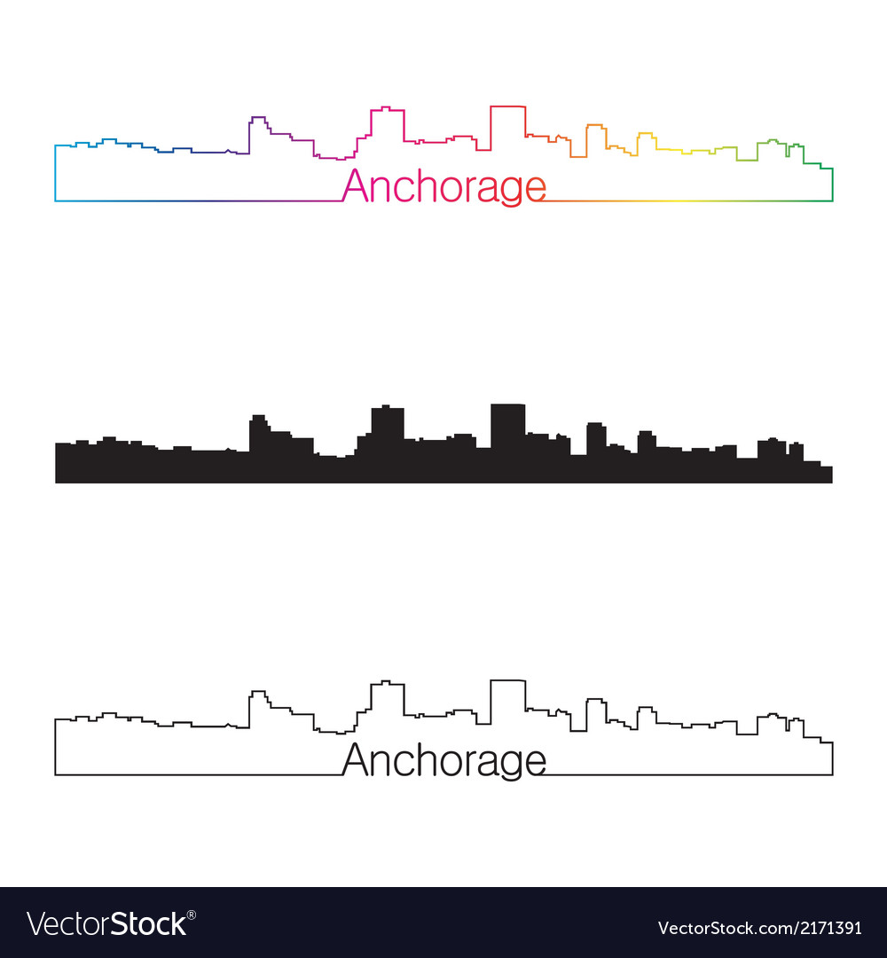 Anchorage skyline linear style with rainbow vector | Price: 1 Credit (USD $1)