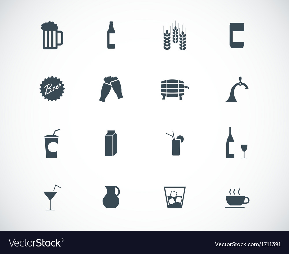 Black beer and beverage icons set vector | Price: 1 Credit (USD $1)