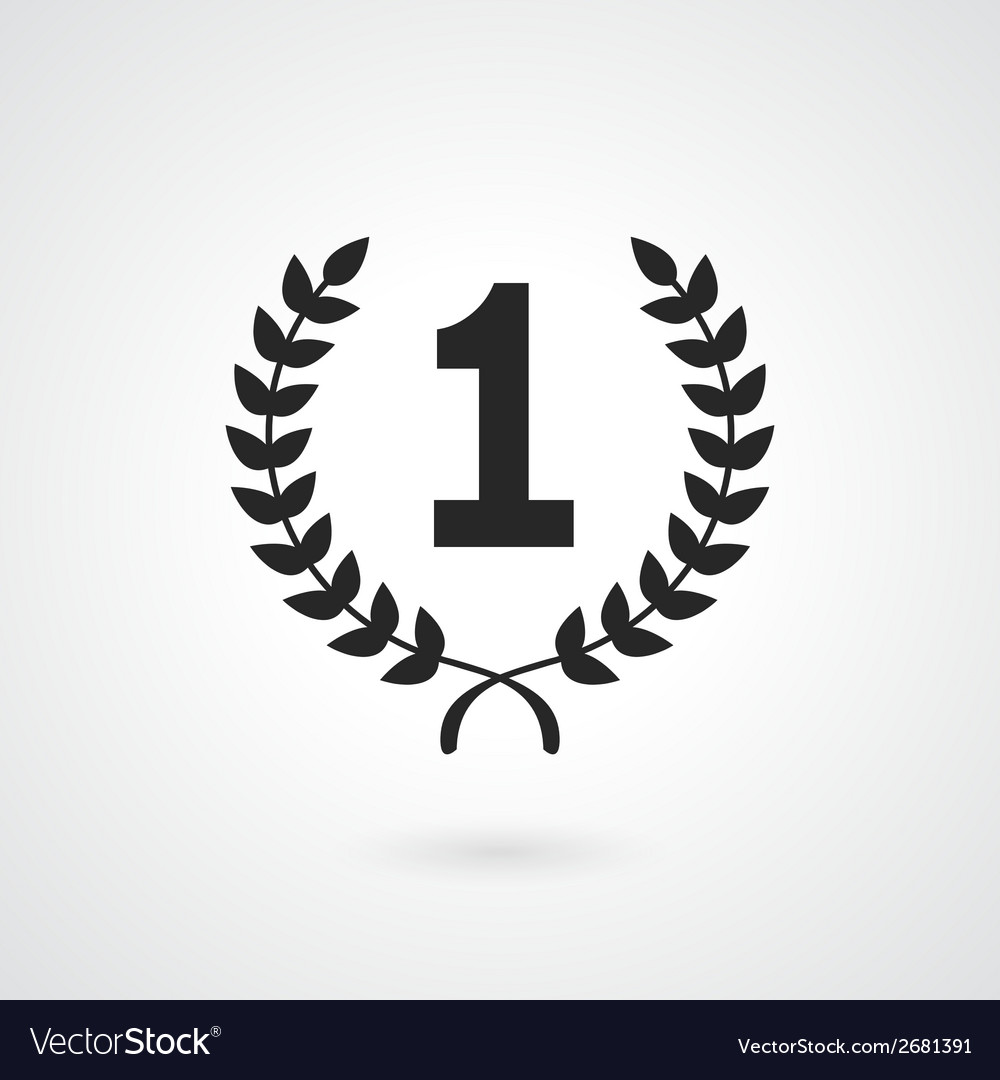 Black winner icon or number 1 sign vector | Price: 1 Credit (USD $1)