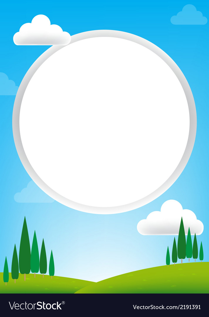 Blank circle with blue sky and green field vector | Price: 1 Credit (USD $1)