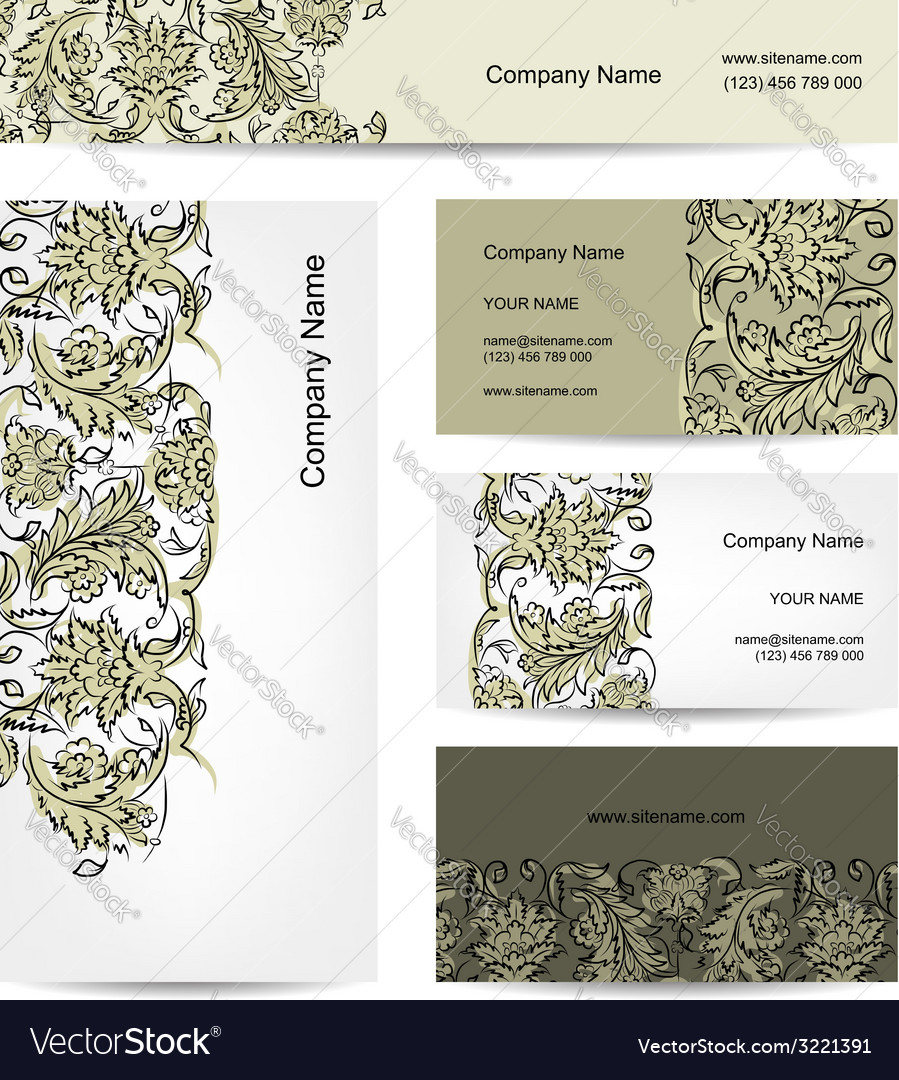 Business cards design floral ornament vector | Price: 1 Credit (USD $1)