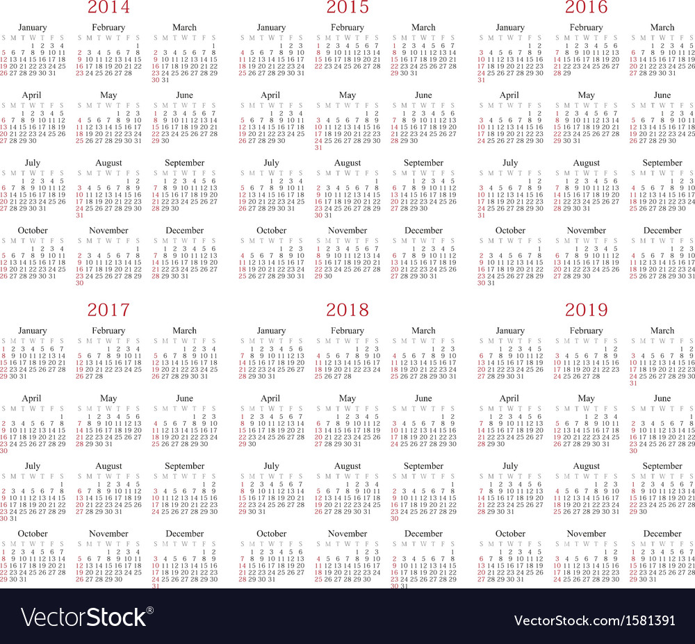 Calendar 2014-2019 vector | Price: 1 Credit (USD $1)