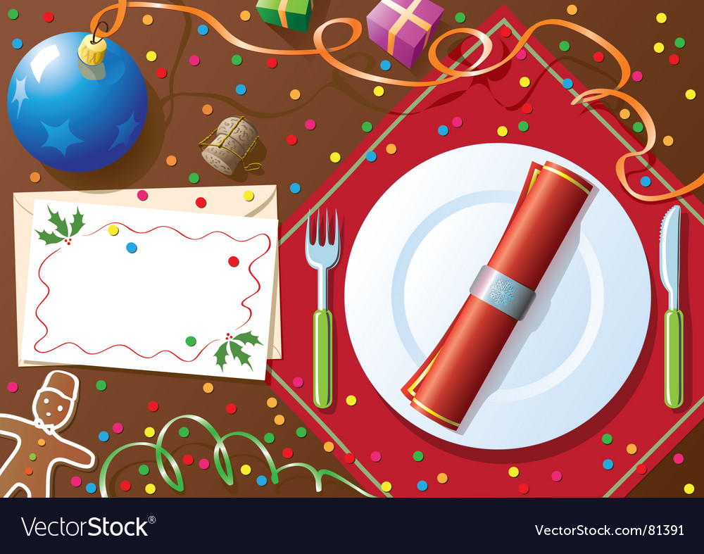 Christmas dinner table vector | Price: 3 Credit (USD $3)