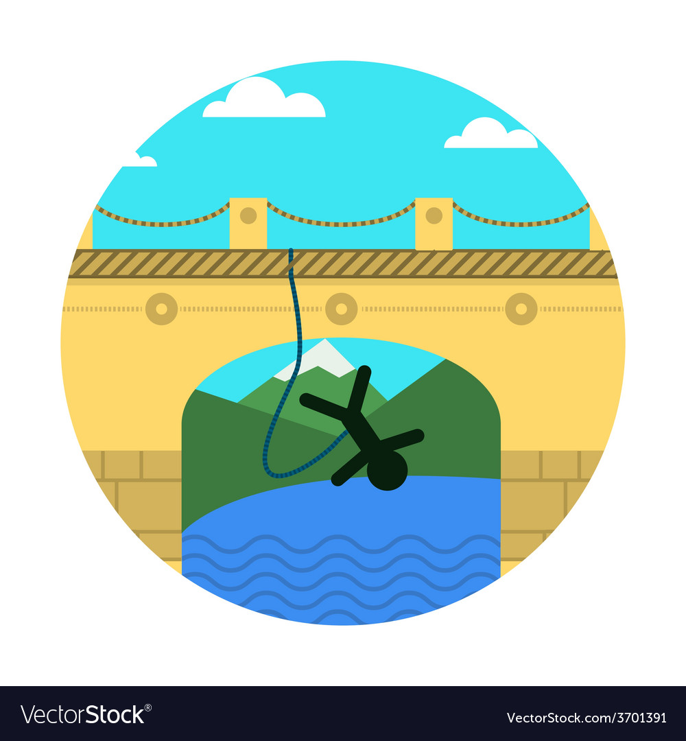 Flat icon for extreme sport rope jumping vector | Price: 1 Credit (USD $1)