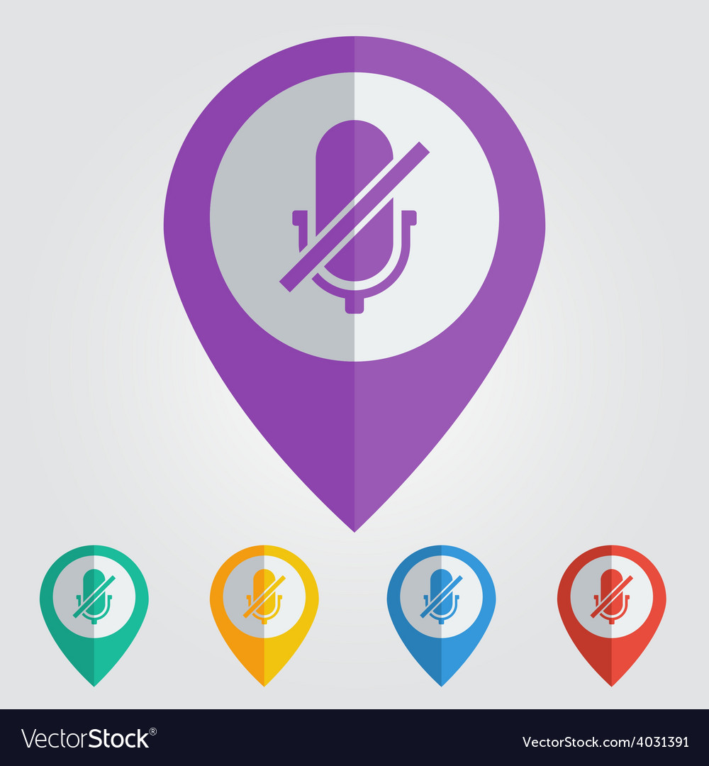 Flat pin with microphone off icon vector | Price: 1 Credit (USD $1)