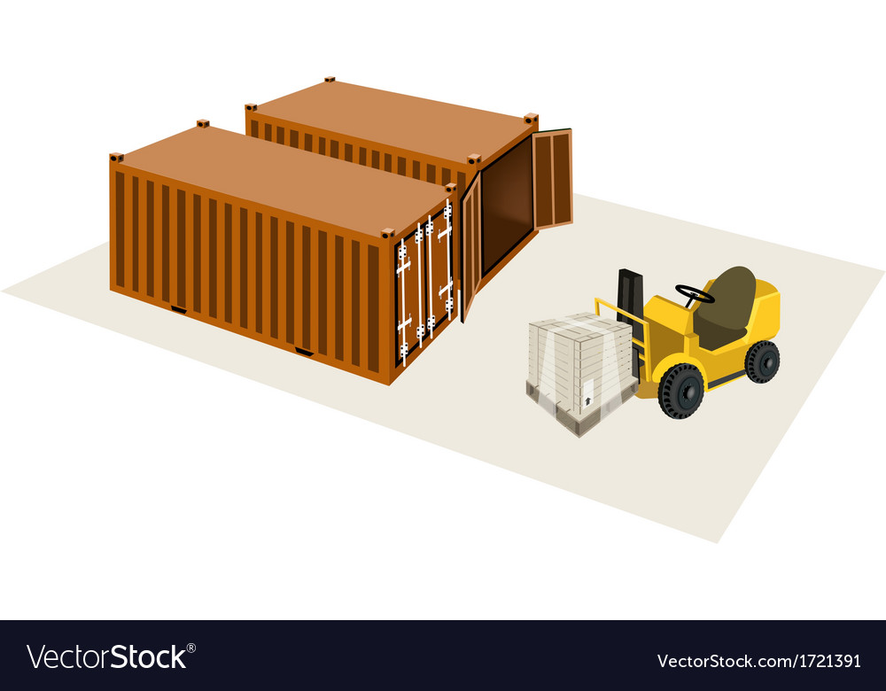 Forklift truck loading a shipping box vector | Price: 1 Credit (USD $1)