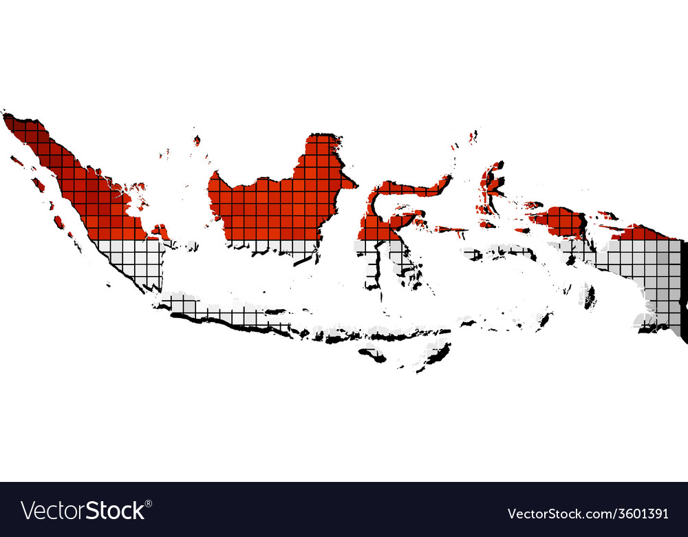 Indonesia map with flag inside vector | Price: 1 Credit (USD $1)