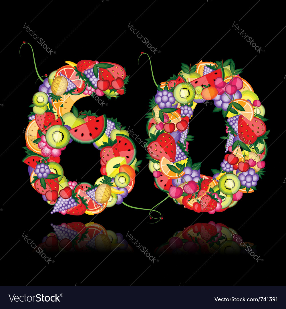 Number sixty made from fruits vector | Price: 1 Credit (USD $1)