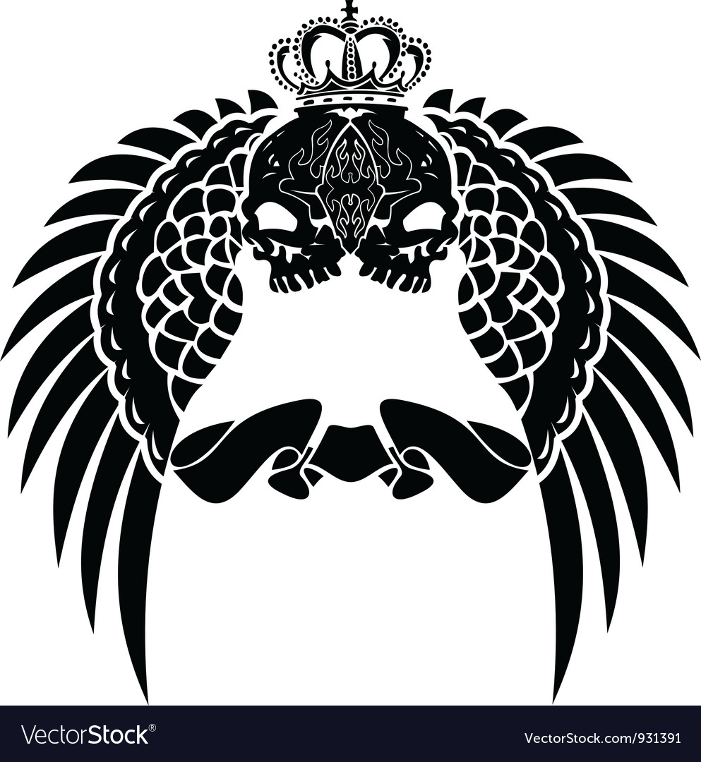 One color crown skull wings vector   Price: 1 Credit (USD $1)