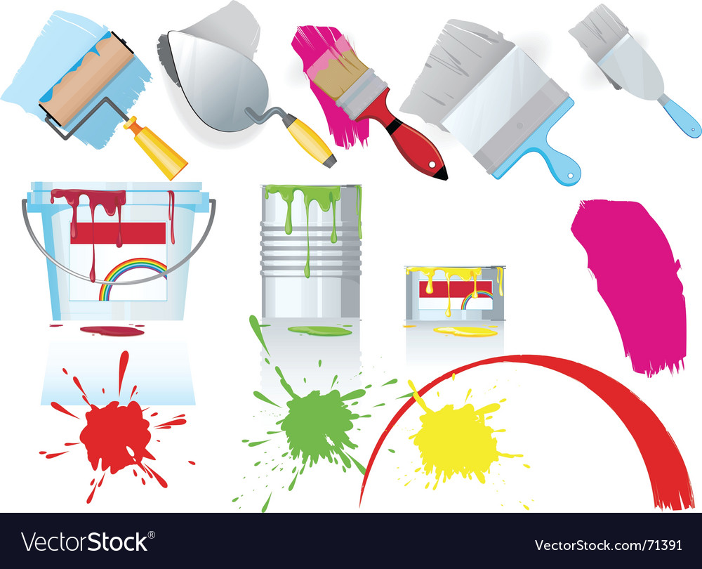 Paint and tools vector | Price: 1 Credit (USD $1)