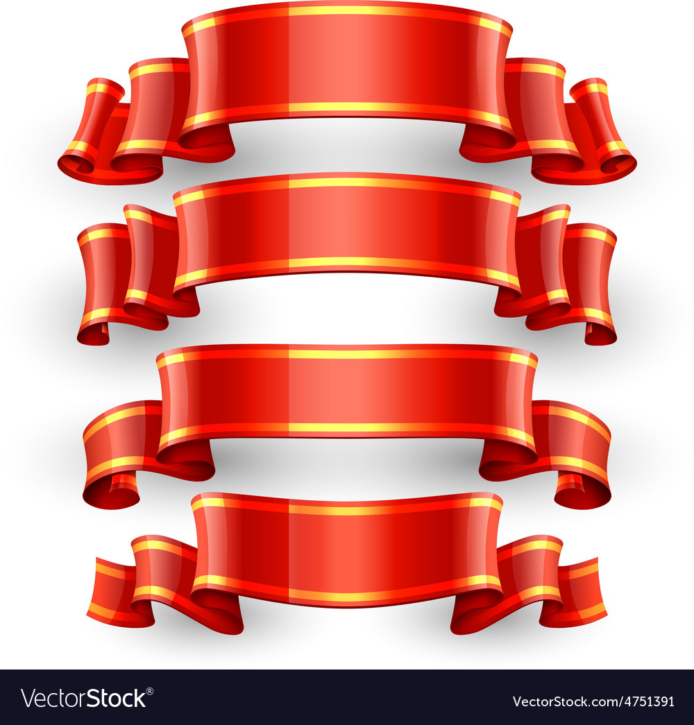 Red glossy ribbons with a yellow stripe vector | Price: 3 Credit (USD $3)