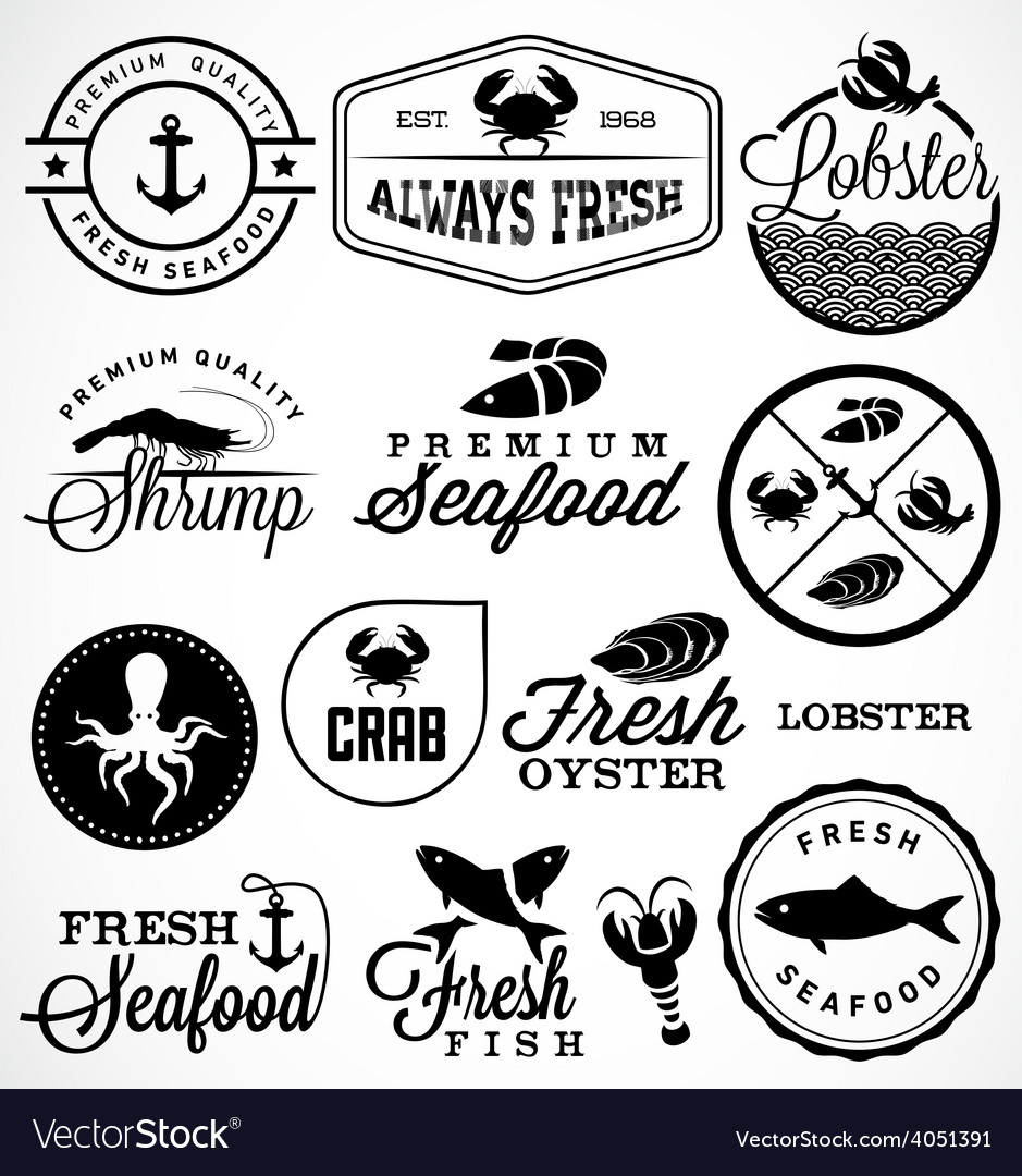 Seafood restaurant labels badges and icons vector | Price: 1 Credit (USD $1)