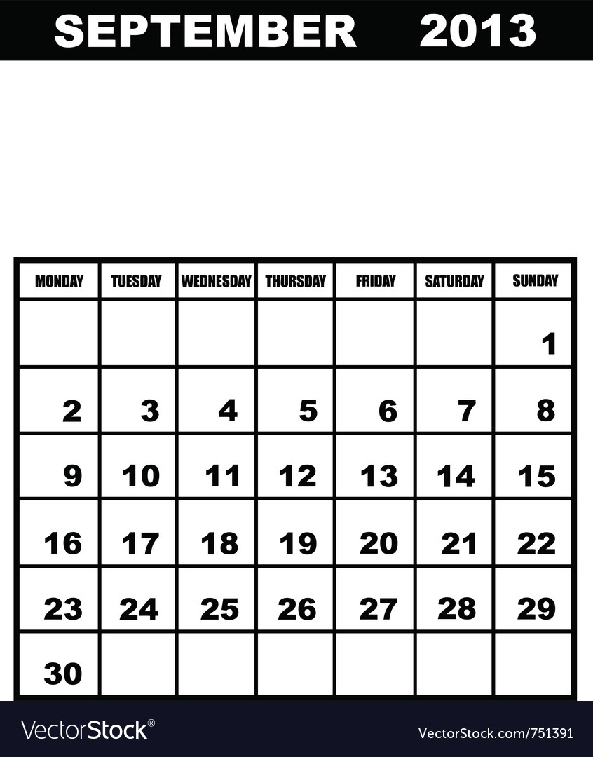 September calendar 2013 vector | Price: 1 Credit (USD $1)