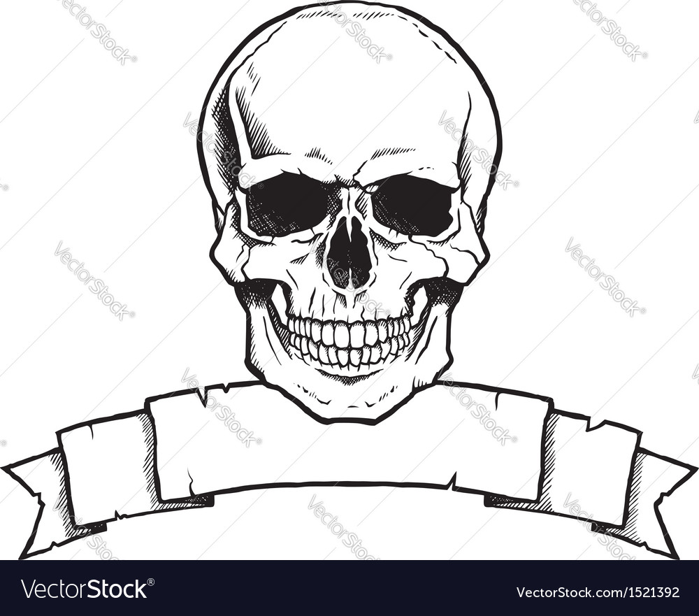 Black and white human skull with ribbon banner vector | Price: 1 Credit (USD $1)
