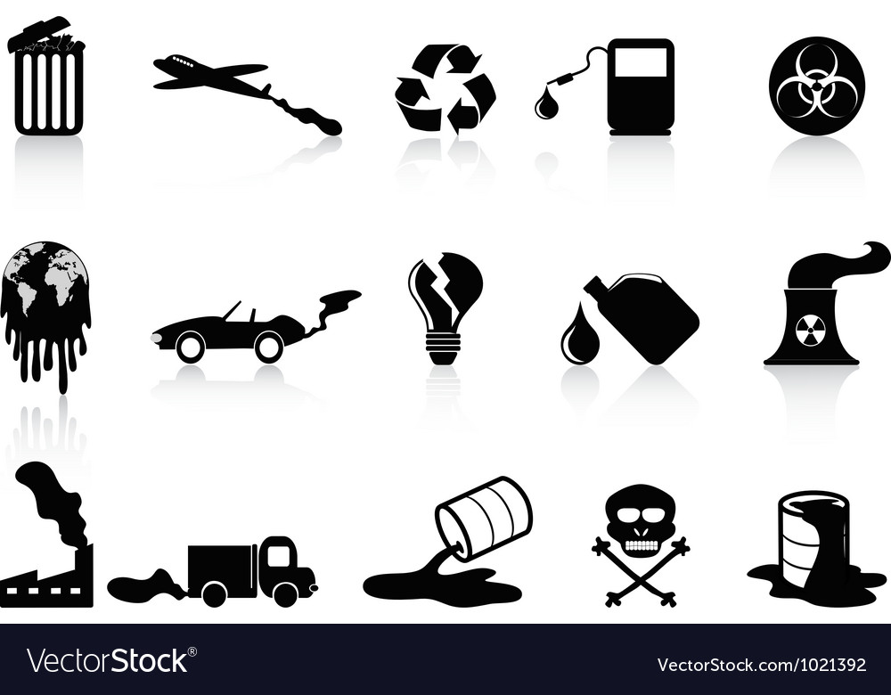Black pollution icons set vector | Price: 1 Credit (USD $1)
