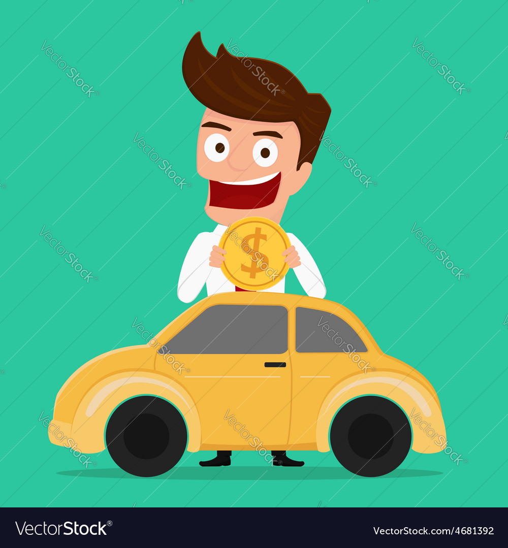 Businessman putting coin inside the car vector | Price: 1 Credit (USD $1)