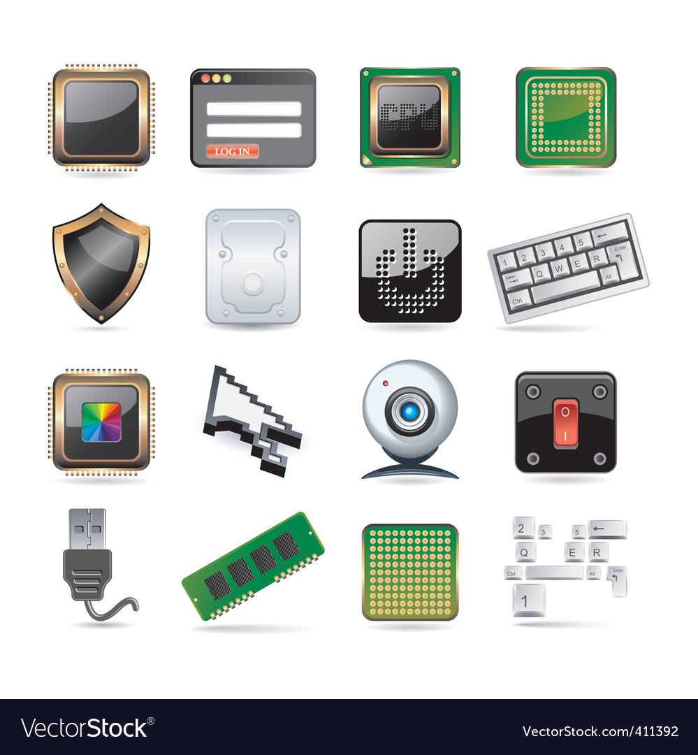 Computer parts set vector | Price: 1 Credit (USD $1)