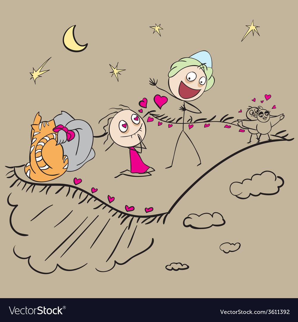 Couple in love fly on the carpet plane vector