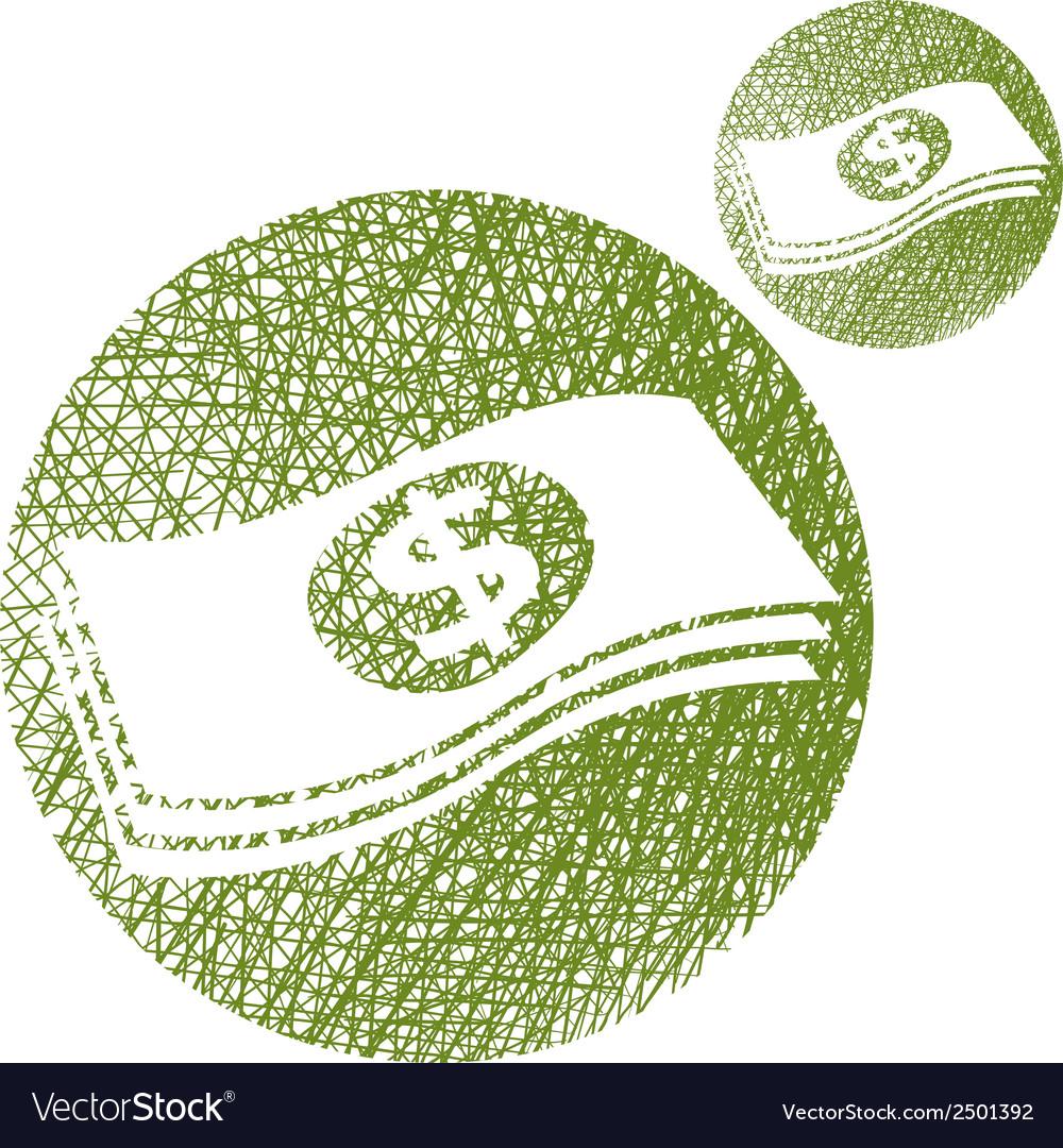 Dollars cash money stack simple single color icon vector | Price: 1 Credit (USD $1)