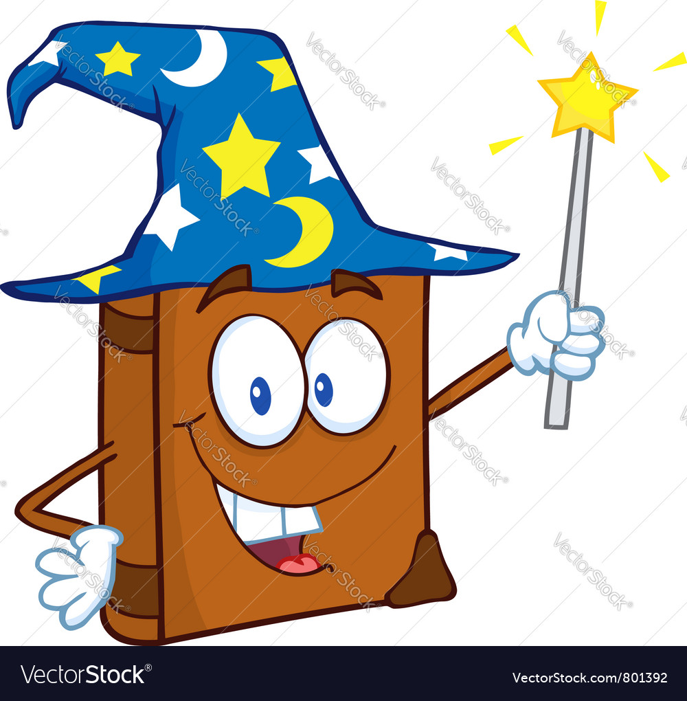 Happy spell book with a wizard hat and magic wand vector | Price: 1 Credit (USD $1)