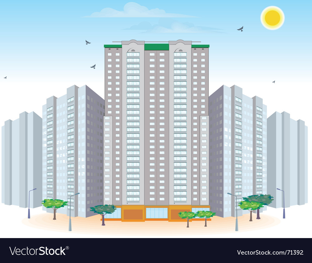 Multi-storied buildings vector | Price: 1 Credit (USD $1)