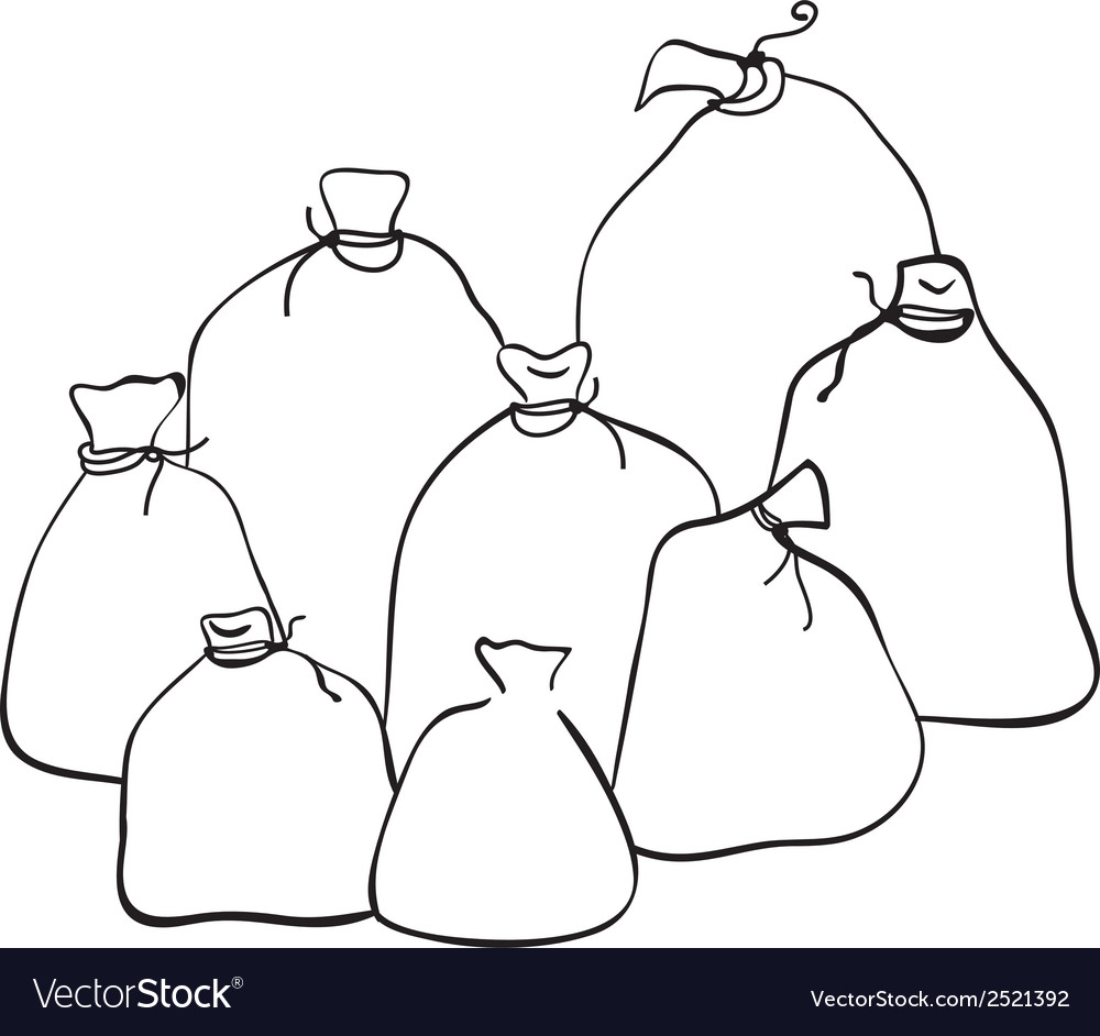 Outline group of sacks vector | Price: 1 Credit (USD $1)