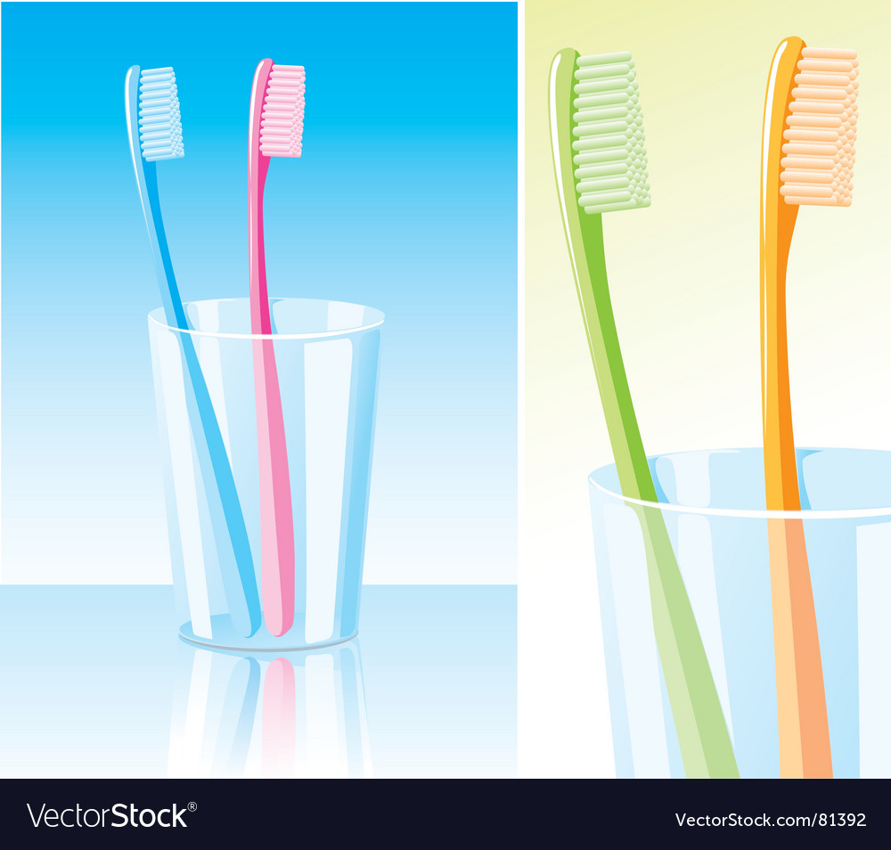 Toothbrushes in the glass vector | Price: 1 Credit (USD $1)