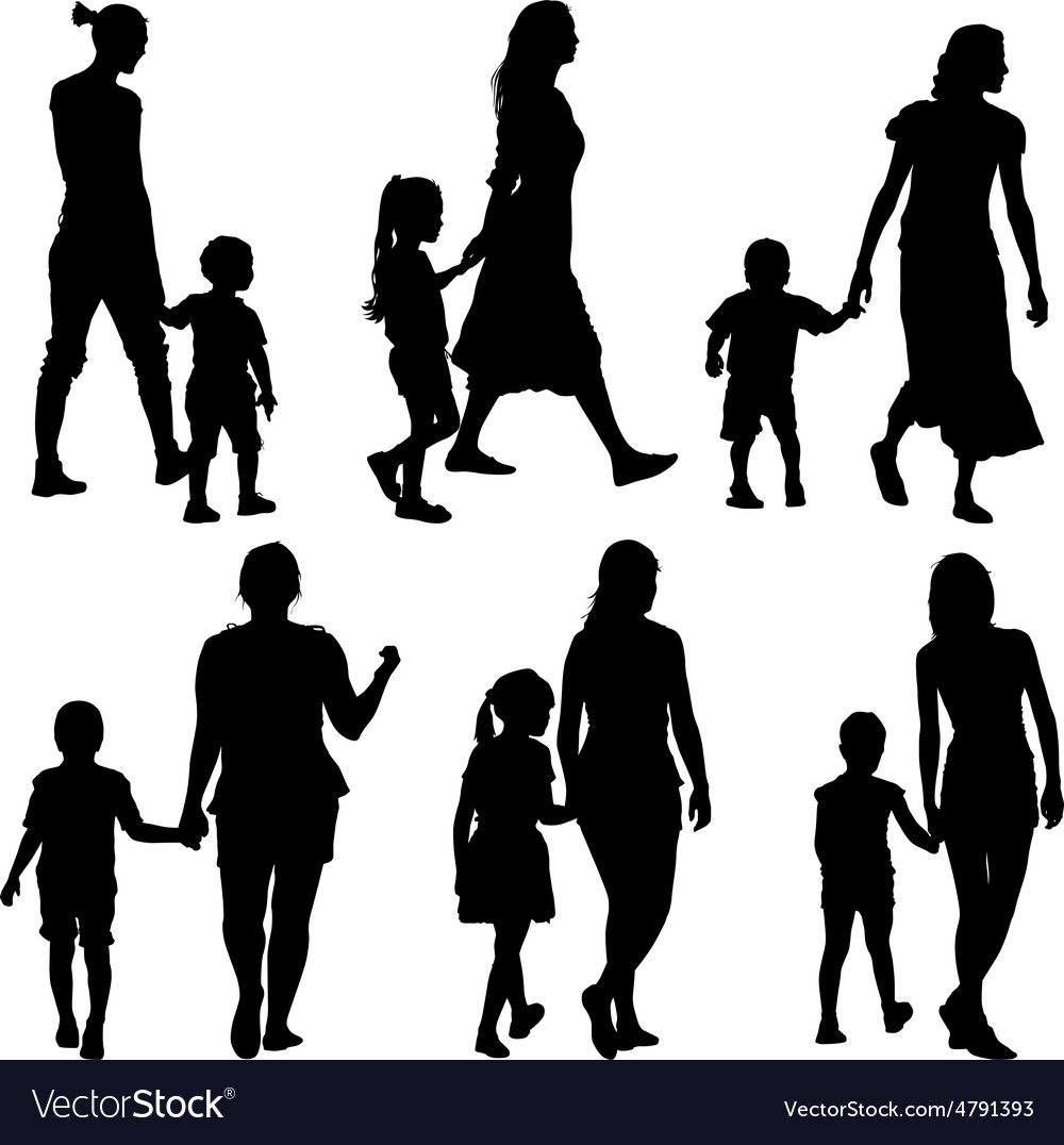 Black silhouettes family on white background vector | Price: 1 Credit (USD $1)