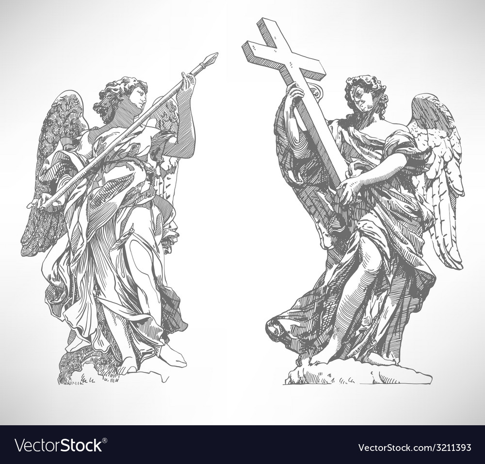 Digital drawing marble statue of two angels vector | Price: 1 Credit (USD $1)