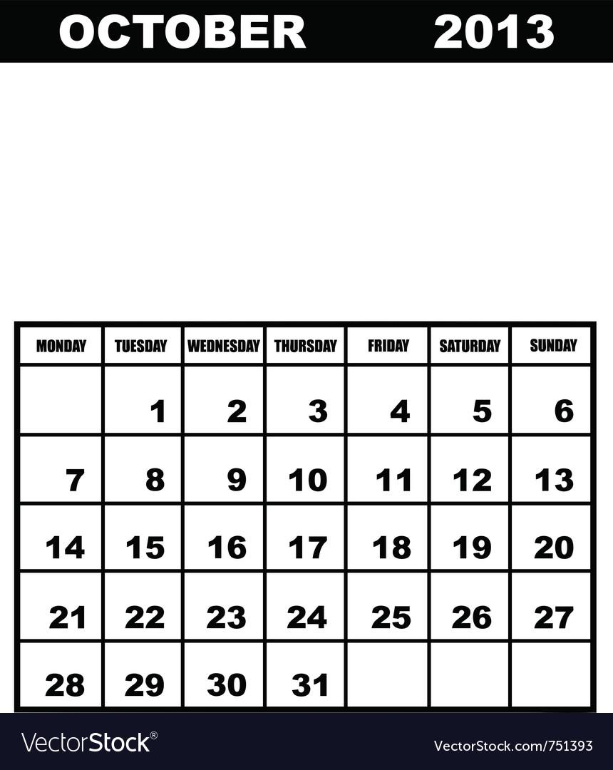 October calendar 2013 vector   Price: 1 Credit (USD $1)
