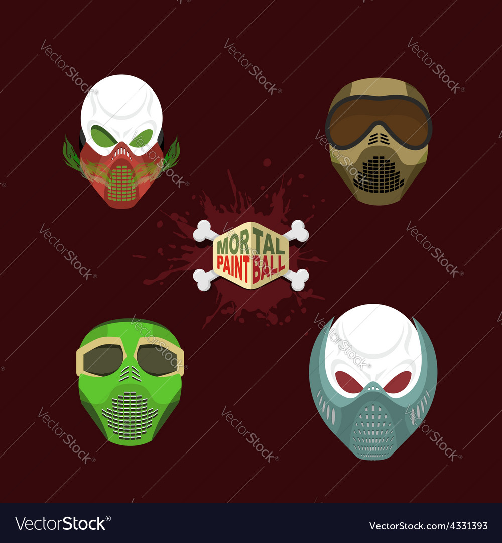 Set paintball mask skull in protective mask mortal vector | Price: 1 Credit (USD $1)