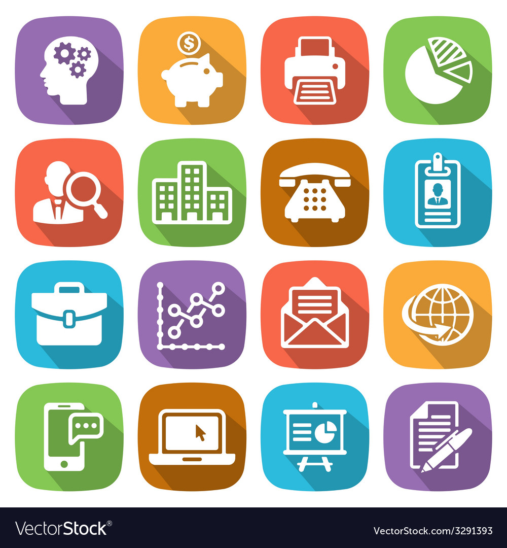Trendy flat business and finance icon set 1 vector | Price: 1 Credit (USD $1)