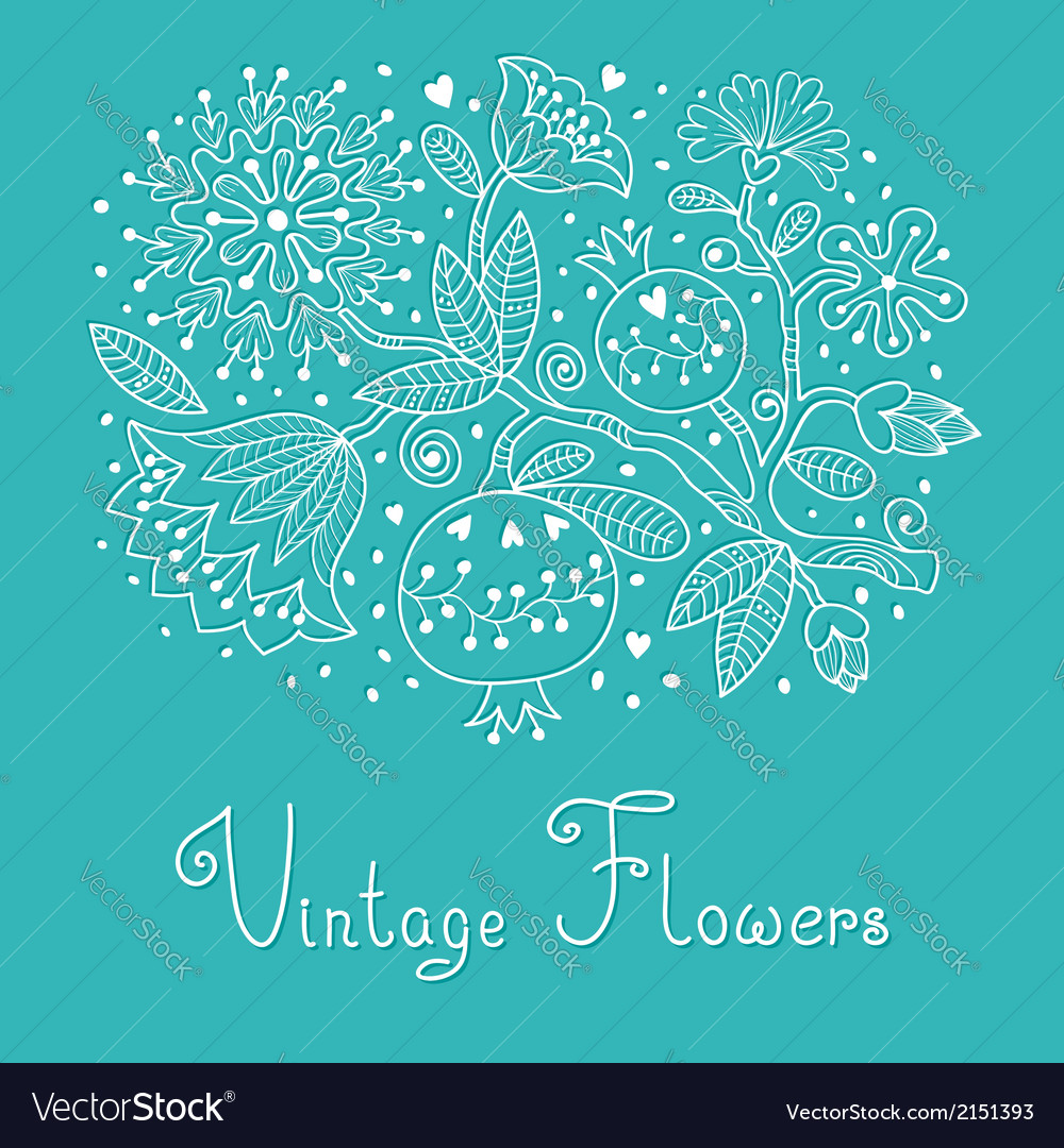 Vintage festive card with flowers and pomegranate vector | Price: 1 Credit (USD $1)