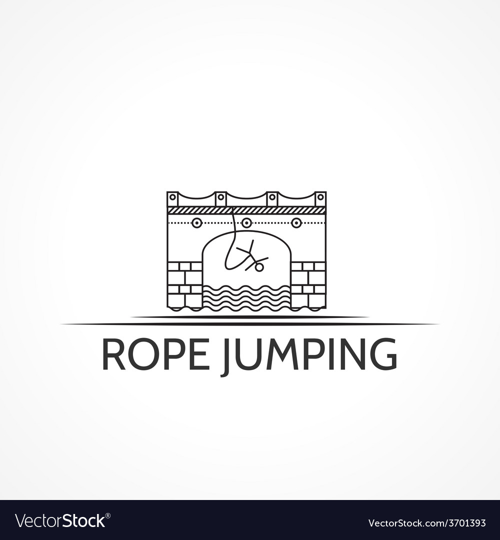 With black line icon and text for rope jumping vector | Price: 1 Credit (USD $1)