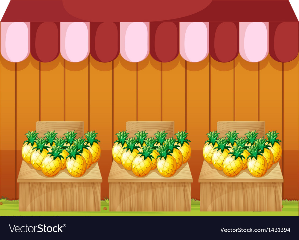 A fruitstand selling pineapples with empty vector | Price: 1 Credit (USD $1)
