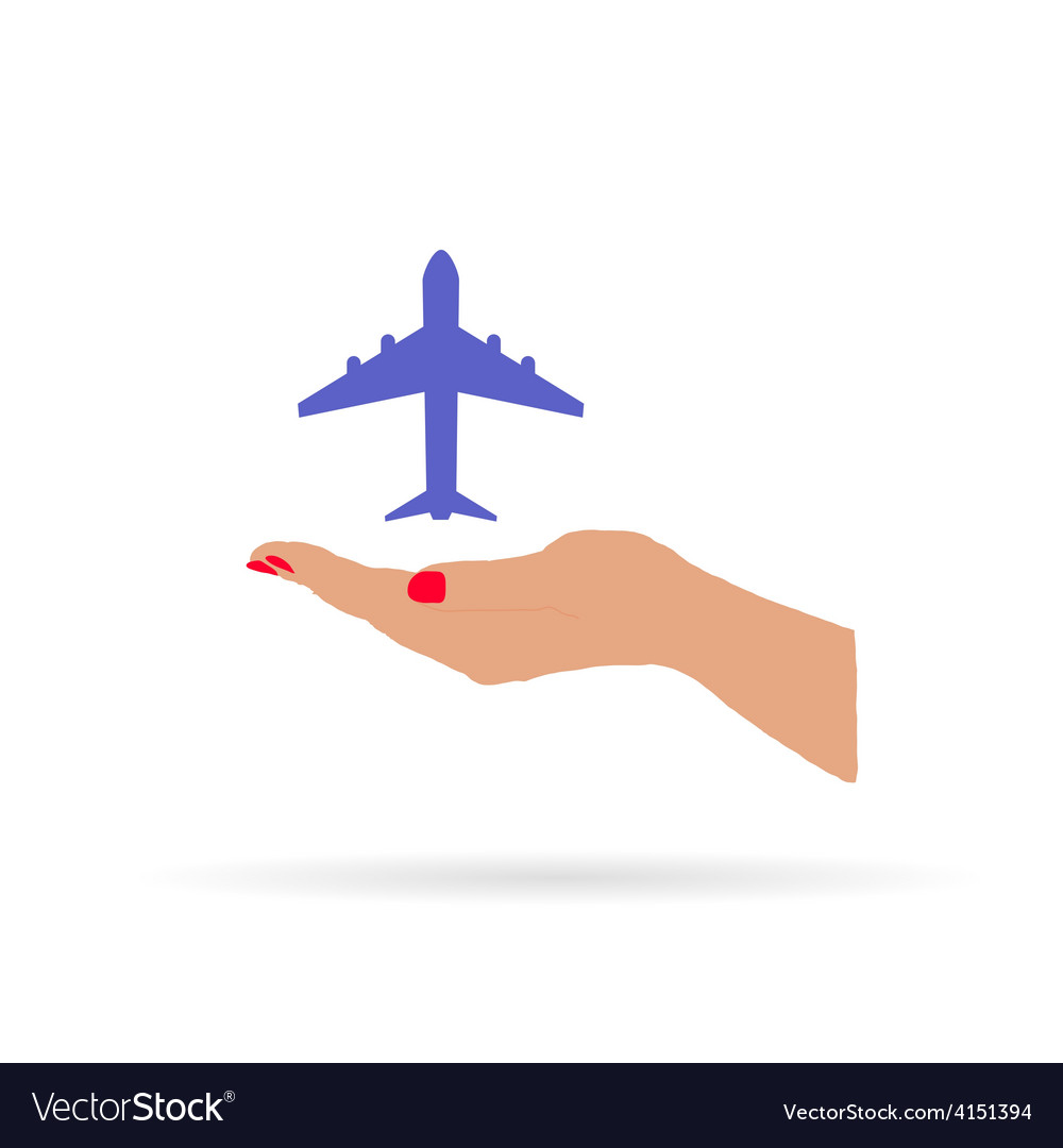 Airplane in hand color vector | Price: 1 Credit (USD $1)