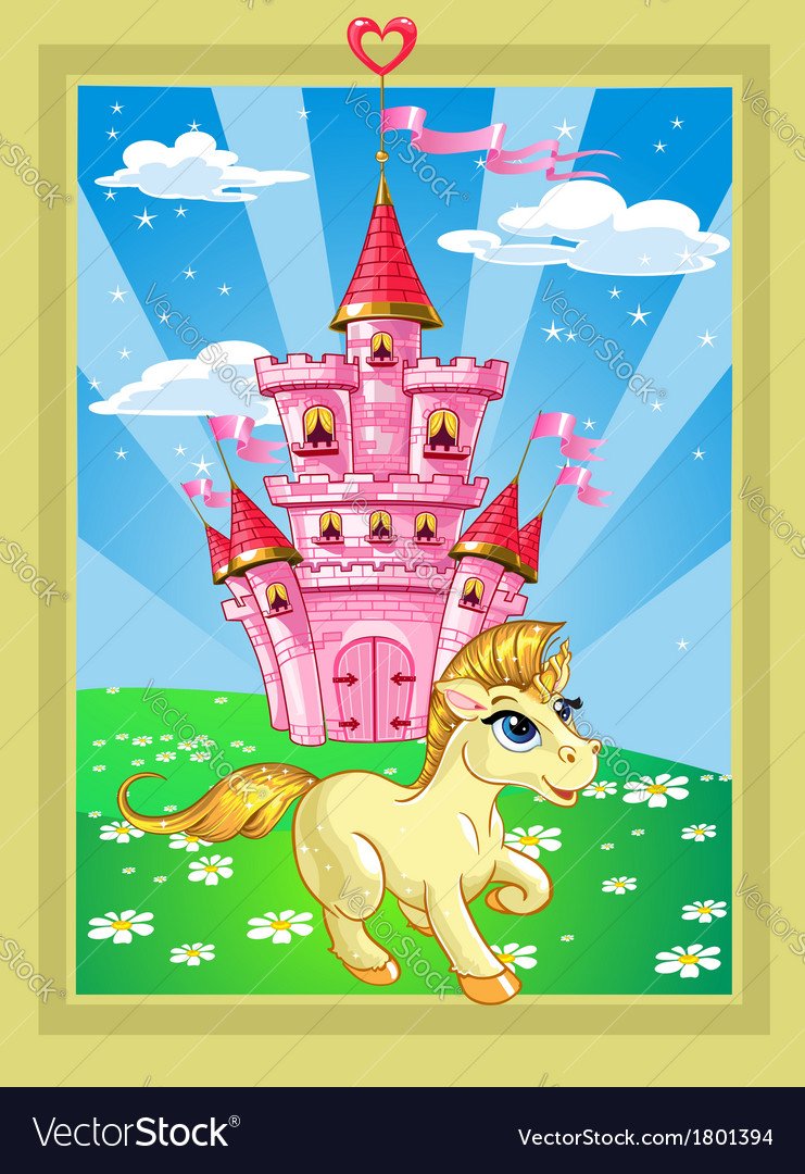 Fairytale landscape with pink magic castle and vector | Price: 3 Credit (USD $3)