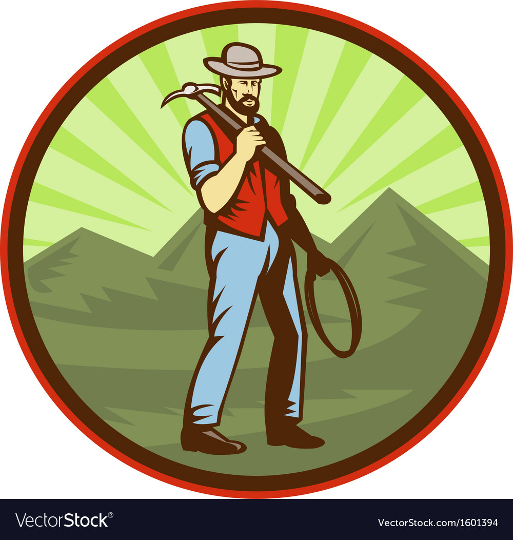 Miner carrying pick axe with mountains vector | Price: 1 Credit (USD $1)