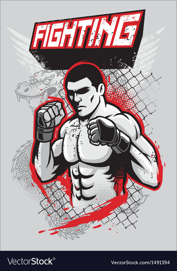 Mma fighter design vector | Price: 1 Credit (USD $1)