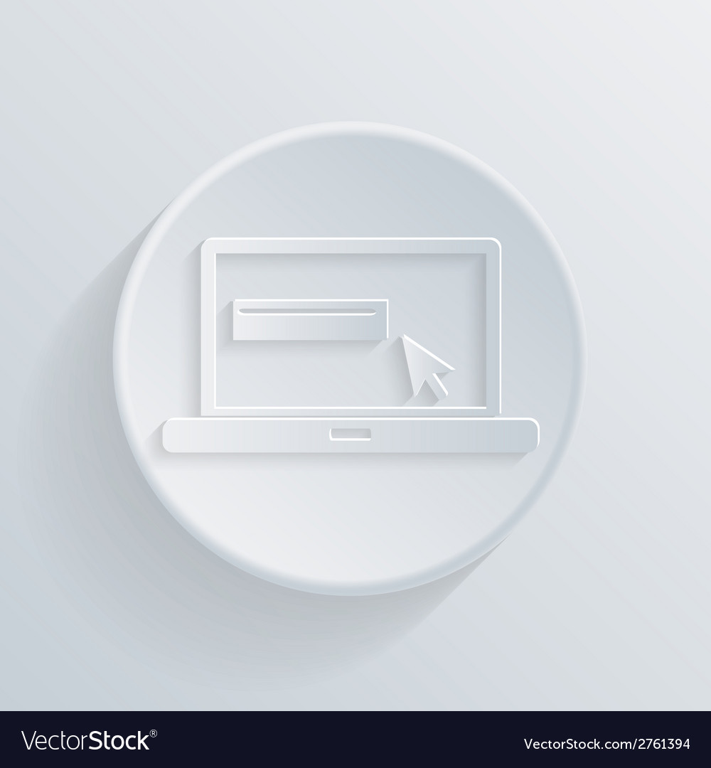 Paper circle flat icon laptop vector | Price: 1 Credit (USD $1)