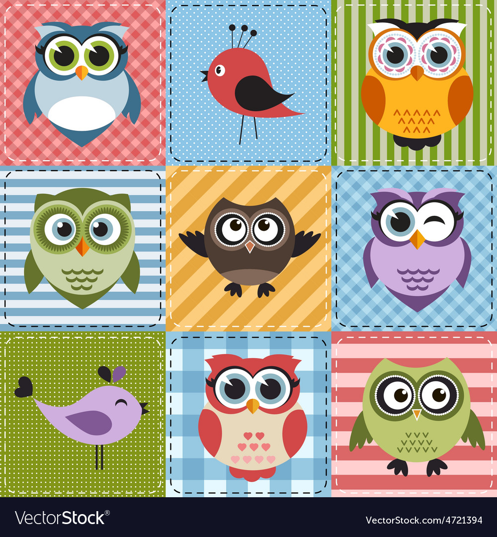 Patchwork with owls and birds vector   Price: 1 Credit (USD $1)