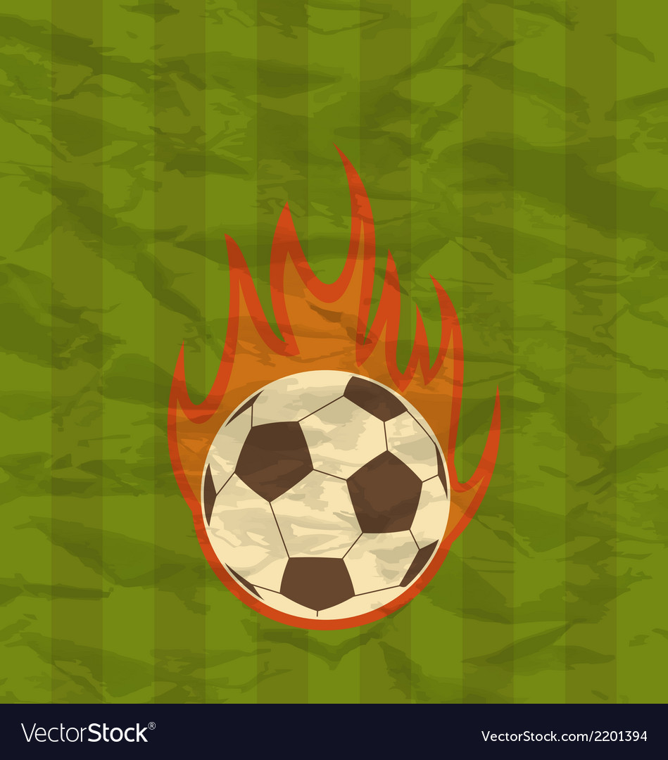Retro football flyer with ball in fire flames vector   Price: 1 Credit (USD $1)