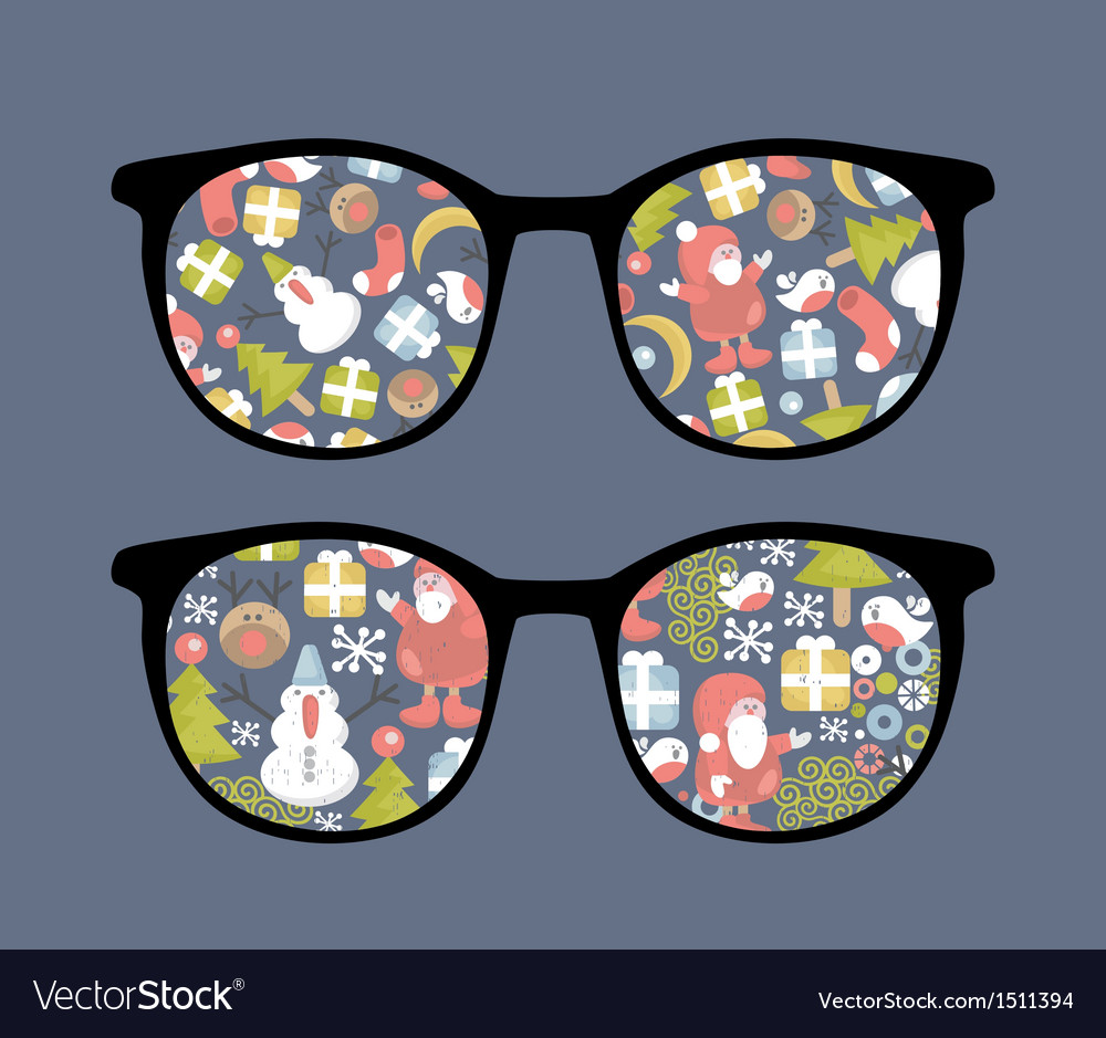 Retro sunglasses with christmas time reflection vector | Price: 1 Credit (USD $1)